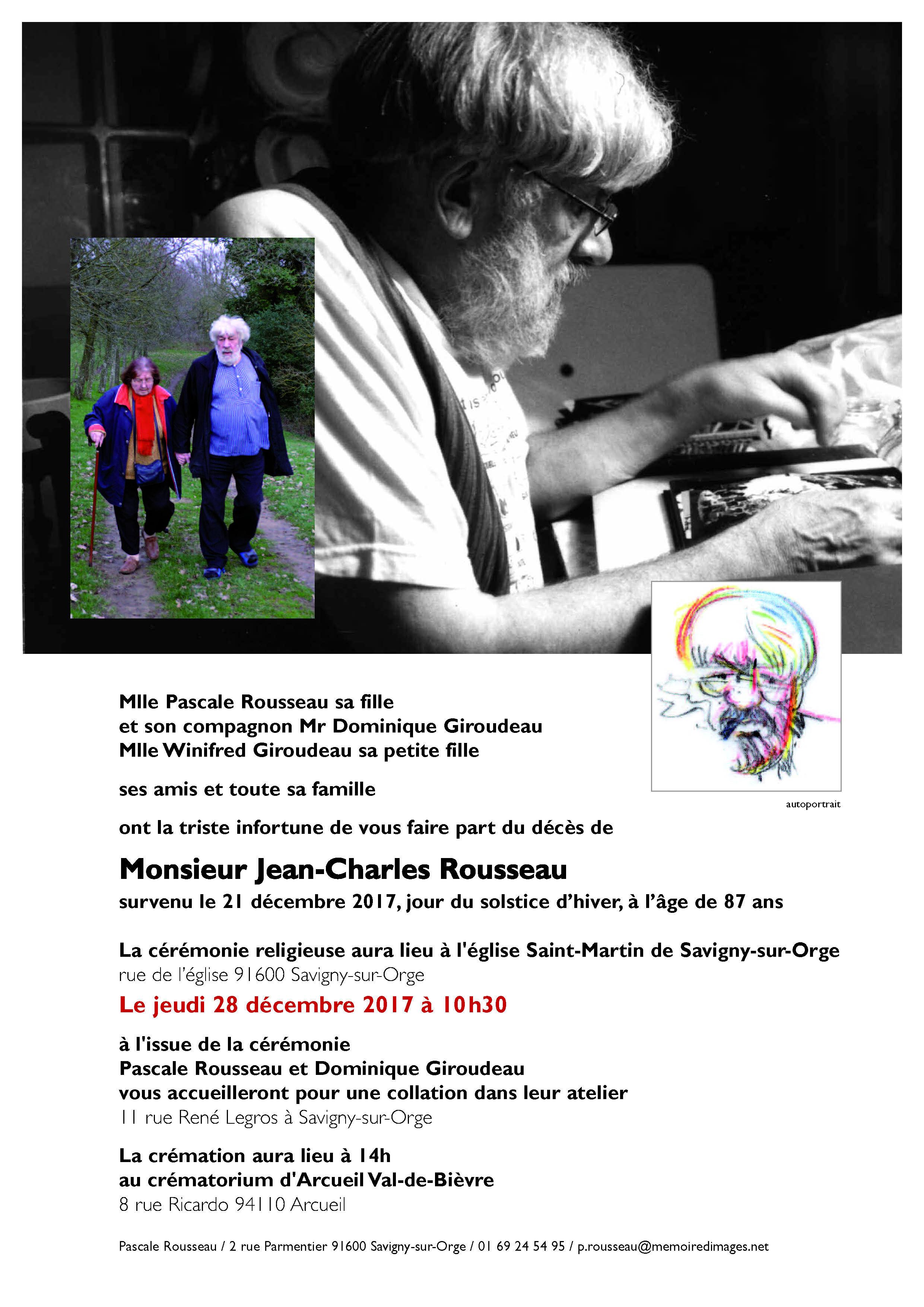 Deces De Jean Charles Rousseau Memoire D Images